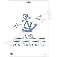 Kashakydex Plantilla Stencil DIN A4 Ancla y Cuerda