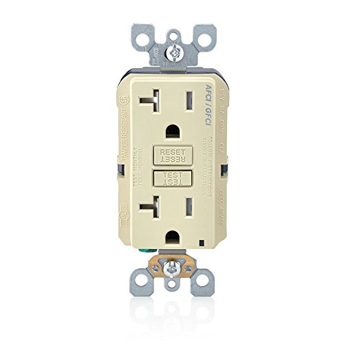 Leviton AGTR2-I SmartlockPro Dual Function AFCI/GFCI Receptacle, 20 Amp/125V, Ivory