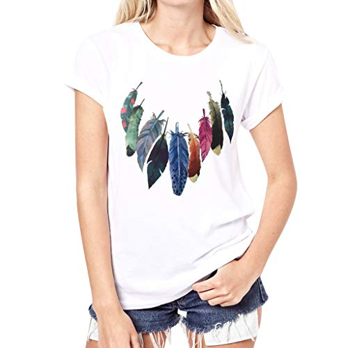 Tshirts for Women, Feather Print Round Neck Short Sleeves White T-Shirt Blouses