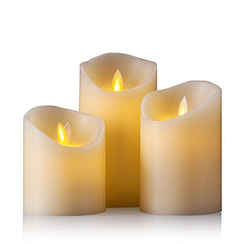 Air Zuker LED Kerzen mit beweglicher Flamme - Echt Flammen Effekt LED Echtwachskerzen mit 10 Key Fernbedienung und Timer [Klassische Stumpenkerze, Elfenbeinfarbe] - 3er Pack