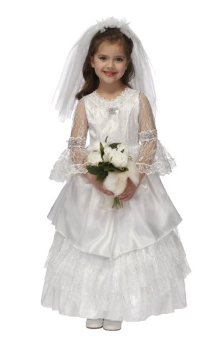 Just Pretend Kids Elegant Bride Dress with Hoop and Veil, Large