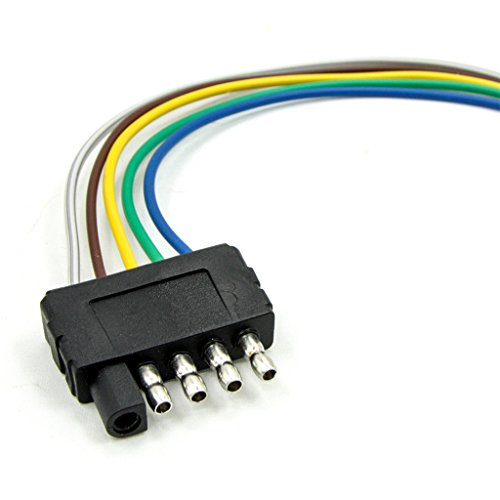 Durable Modeling Monkeyjack 2 Pieces 5way 5pin Flat Trailer Wire Harness Extension Connector Socket: Trailer Wire Harness Flat 5 Pin At Satuska.co