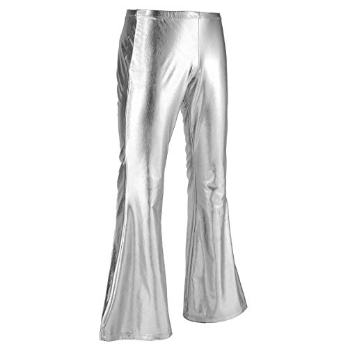 iEFiEL Adult Men's Shiny Metallic 70's Disco Dude Pants Leisure Long Pants Flared Bell Bottom Trousers Costume Silver Medium