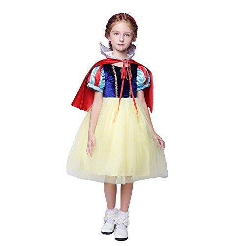 Adela Richer Snow White Belle Girls Halloween Costume Princess Party Tutu Dress For Kids With Cloak -