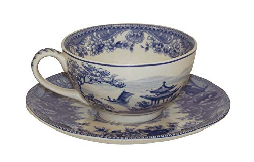 Antique White Porcelain Blue And - Madison Bay Co. 5 1/2