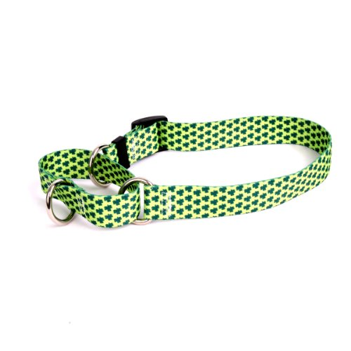 "Petite Shamrocks Martingale Control Dog Collar - Size Small 14"" Long - Made In The USA"
