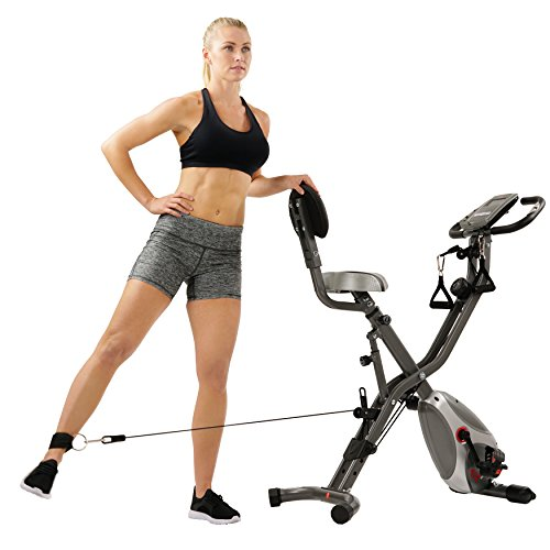 Sunny Health & Fitness Foldable Semi Recumbent Magnetic Upright Exercise Bike w/Pulse Rate Monitoring, Adjustable Arm Resistance Bands and LCD Monitor - SF-B2710 by Sunny Health & Fitness (Image #13)