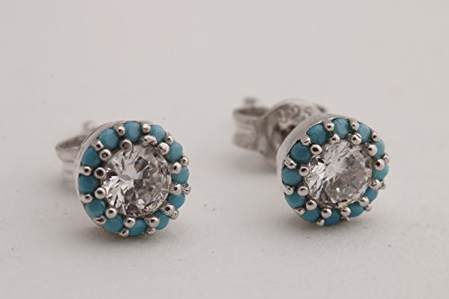 Tiny and Elegant Turkish Handmade Jewelry Turquoise Topaz Style Tiny Round 925 Sterling Silver Stud Earrings