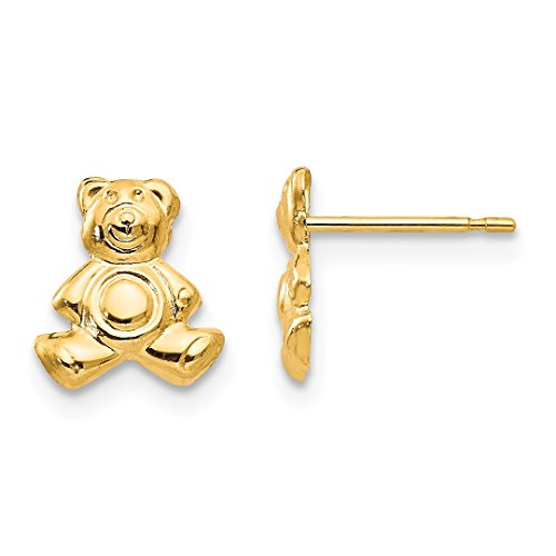 ICE CARATS 14k Yellow Gold Teddy Bear Post Stud Earrings Fine Jewelry Gift Set For Women (Teddy Bear Yellow Ring)