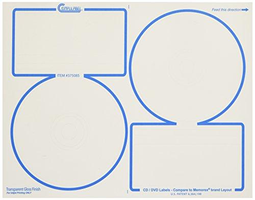 - Compulabel Clear Gloss CD/DVD Memorex Labels for Inkjet Printers, 4.625-Inch Permanent Adhesive, 2 Per Sheet, 100 Sheets per Carton