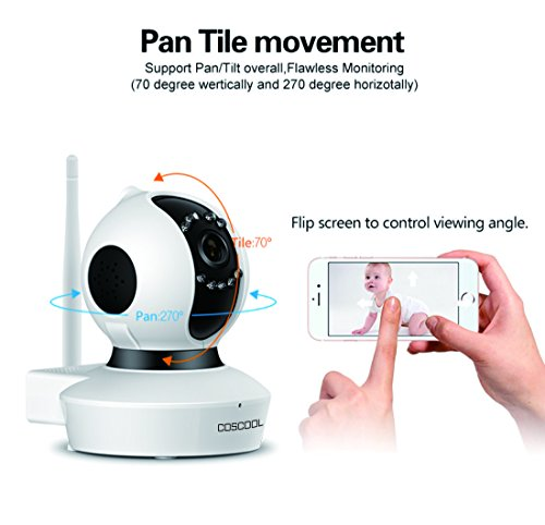 CosCool IP Camera 1080P Wireless,Wifi Surveillance Camera Network Security Webcam,Microphone Inside,Two Way Audio,Onekey Wifi Fast Setting,Night Vision,ONIVF,Pan/Tilt Movement Baby Pet Video Monitor by CosCool (Image #6)