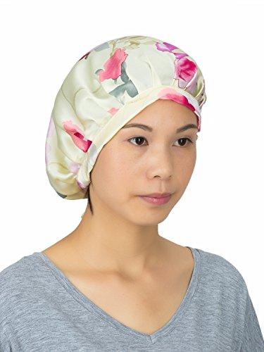 LITHER Women 100% Silk Night Cap Sleeping Hat Turban Head Cover Bonnet for Hair Beauty -