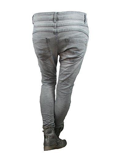 Gris stretch LEXXURY bandes range ouverte Anthracite Gris jeans de Baggy copain latrales boutons wqwS7FCf4