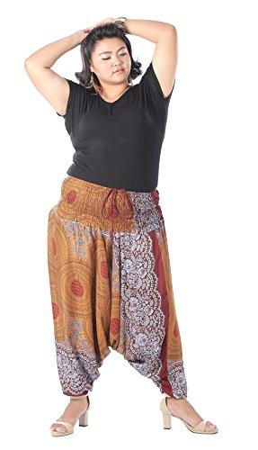 CandyHusky Women Harem Pants & Jumpsuit Hippie Aladdin Boho Yoga Pants Plus Size (Floral Mandala (Hippie Suit)