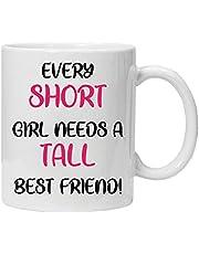 'Every Short Girl Need a Tall Best Friend' – nyhet 325 ml högkvalitativ gåva dryckesmugg och presentförpackning set te kaffe för kontor arbete hem