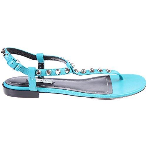 Sandales Femmes Balenciaga Rivets Chaussures Turquoise En Cuir Taille 37