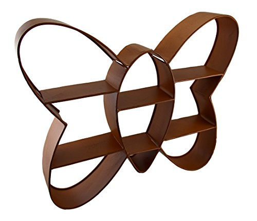 Butterfly Shaped Distressed Finish Metal Cubby Wall Shelf