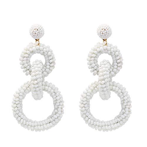 NSLS Delicate Hand-Woven Rice Bead Earrings Fashionable Temperament Baita Street Beat Circle Multi-Layer Earrings -
