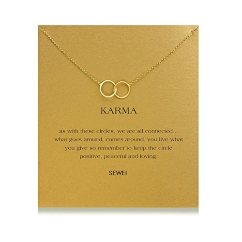 - SEWEI Wishbone Infinity Necklace Cross Angel Wing Friendship Necklace with Message Card Wish Card (Golden Double Rings)