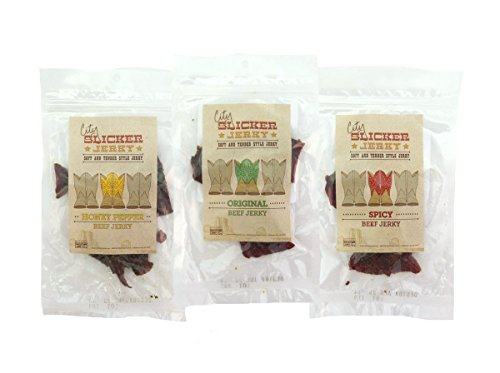 Tender Beef Jerky - Best Soft and Tender Style Beef Jerky Sampler - TESTER 3 PACK - in 3 Best Selling Flavors (Original, Honey Pepper and Spicy) Try This Awesome Sampler Pack Today! - 4.5 total oz.