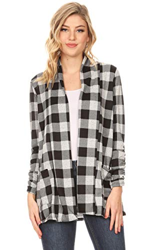Long Sleeve Lightweight Cardigan Sweater for Women with Pockets - Made in USA (Size XXX-Large US 20-22, Black - Heather Grey Plaid)