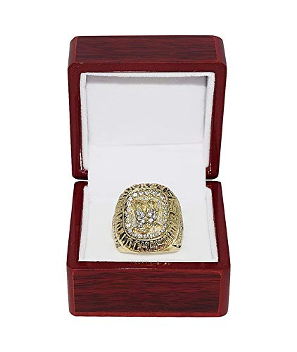HOUSTON ROCKETS (Hakeem Olajuwon) 1995 NBA FINALS WORLD CHAMPIONS (Back 2 Back Champs) Collectible High-Quality Replica NBA Basketball Gold Championship Ring with Cherrywood Display Box