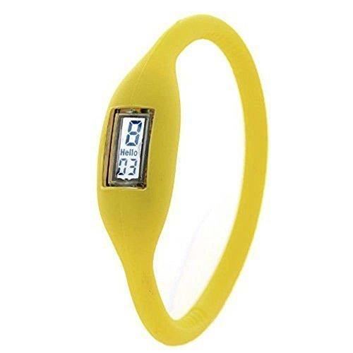 Yellow Bracelet Jelly (TOOGOO(R) Sports Digital Silicone Rubber Jelly Anion Bracelet Wrist Watch Unisex yellow)