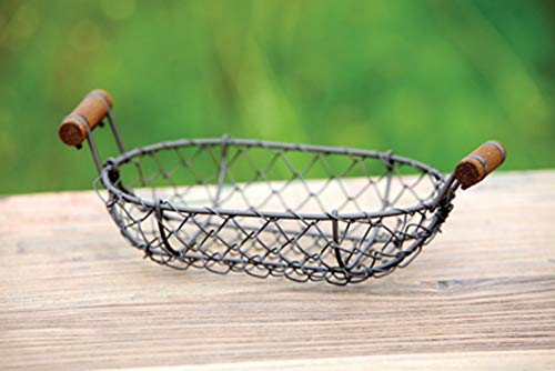 Antique Style Small Wire Basket Shabby Chic Country Cottage Decor by Phuchema ()