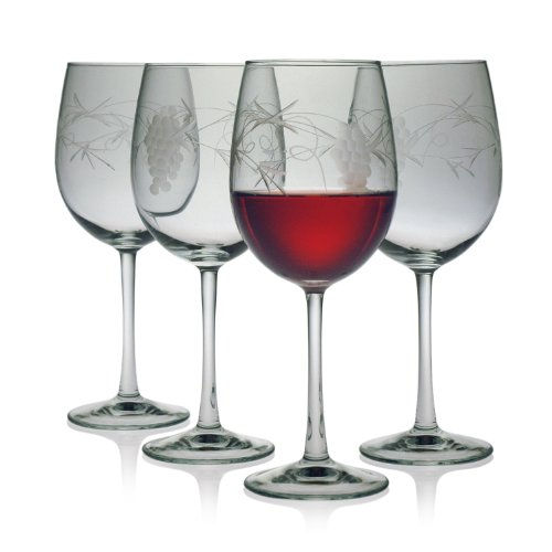 Set 4 Etched Wine Glasses (Susquehanna Glass Sonoma Grape Pattern Cut Glass Wine Glasses, Set of 4, 16 ounces)
