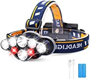 LED Headlamp Rechargeable, 18000 Lumens Bright Camping Head Light with 8 Working Modes, IPX4 Waterproof Head F