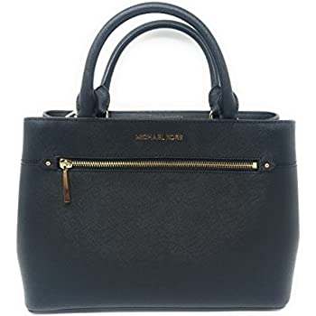 29b7dee13e63 MICHAEL Michael Kors Women s HAILEE Medium Satchel Leather Handbag (Black)