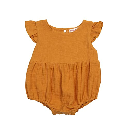 ITFABS Newborn Baby Girl Romper Bodysuits Cotton Flutter Sleeve One-Piece Romper Outfits Clothes (Orange, 90(12-18M)) from ITFABS