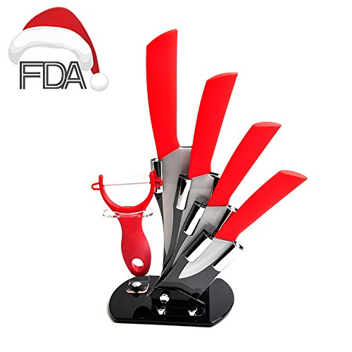 Red Hand Block (AMFOCUS 5-Pieces Ceramic Cutlery Knife Set with Block Fruit Peeler,)