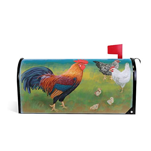 WOOR Rooster with Chickens Mailbox Cover Standard Size-18