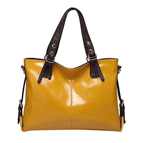 Yellow colored Yiji Pu Shopping Handbag Women's Pure Leather CTwpxw1qa
