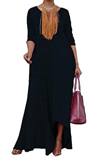 Dall'oscillazione Domple Vestito Donne Orlo Solido Nere Irregolare Casuale Con Tasche Maxi agwaTq