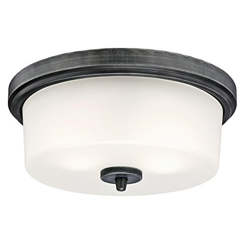 Westinghouse Lighting 6325100 Courtfield Two-Light Indoor Flush-Mount Ceiling Fixture, Distressed Aluminum Finish with Frosted Glass
