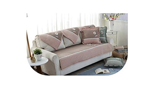 - Sofa Cover Cotton Sofa Armrest Towel Cushion Patch Embroidered Floral Stripe Blue Fabric Non-Slip Home Textile,Coffee,110X210Cm
