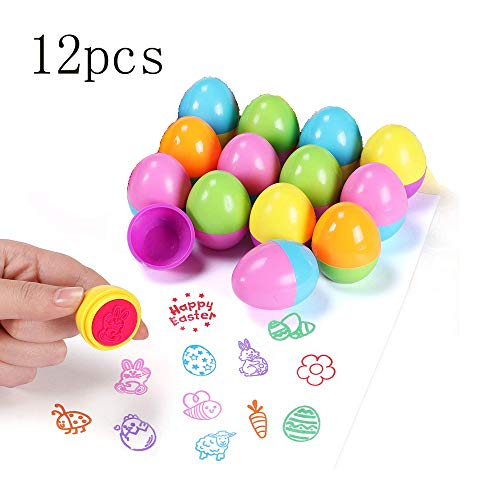 12 pcs Easter Egg Stampers Colorful Cartoon Egg Bunny Flowers Easter Stampers fit Easter Basket Stuffers Fillers, Easter Stamps Gifts, Classroom Prize, Easter Eggs Hunt Game and Easter Party Favors - Flower Stampers