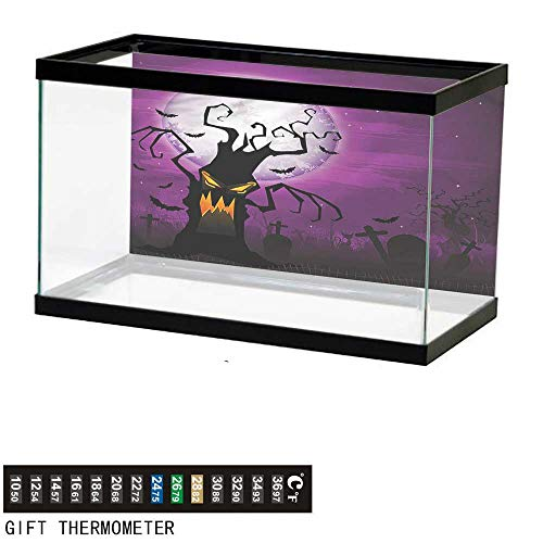 bybyhome Fish Tank Backdrop Halloween,Human Face and Twiggy