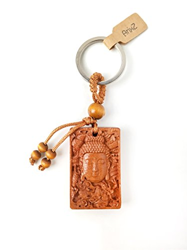 ArixZ Wooden Buddha Keychain, Chinese Wooden Carving Car or House Key Buddha Pendant Statue + One Free Velvet Drawstring Pouch Bag ()