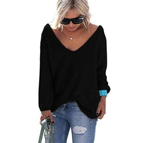 pullover autunno allentato Nero e donna maglione scollo maniche Oudan V oversize Maglione a casual lunghe con camicetta maglione lavorato maglia a maglione inverno TWgAF