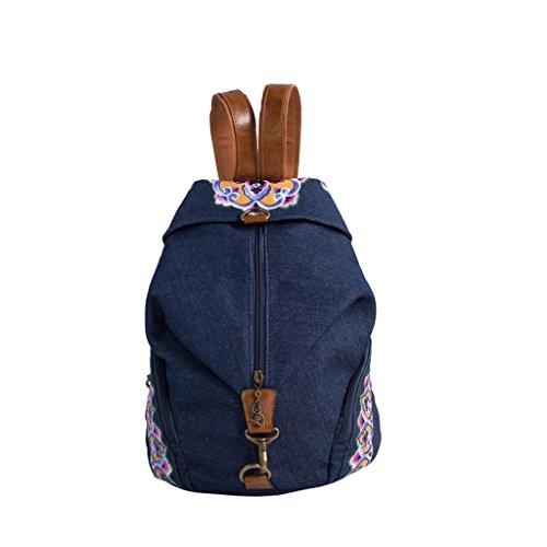 GMS467 Vintage mujeres niñas tribales étnicas mochila mochila Retro mochila bordada, mochila bolsa de viaje de la muchacha mochila de lona, empalme tendencia estilo étnico bolso de estudiante de oci Azul