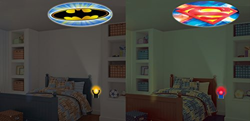 [DC Comics Collectors Eddition Batman and Superman LED Night Light Projectables (Superman Logo Vs. Batman Logo Bundle 2] (Easy To Make At Home Superhero Costumes)