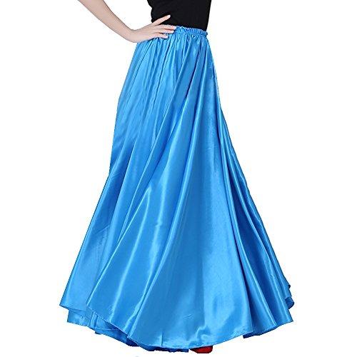 Backgarden Satin Long Swing Skirt Sea Blue Belly