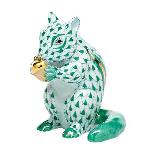 (Herend Chipmunk with Acorn Porcelain Figurine Green Fishnet)