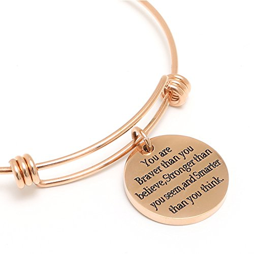 You are Braver Than You Believe Stronger Than You Seem and Smarter Than You Think,Adjustable Cuff Bangle Bracelet Sekluxy Se10117-1