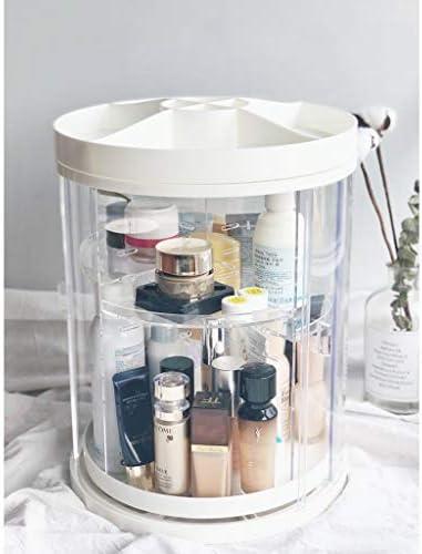 化粧品収納ボックス 回転式防塵化粧品収納ボックス口紅スキンケアドレッシングテーブルアクリルラック透明 DSJSP