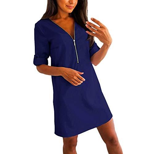 (kaifongfu Long Sleeve Women V Neck Loose Dress for Evening)