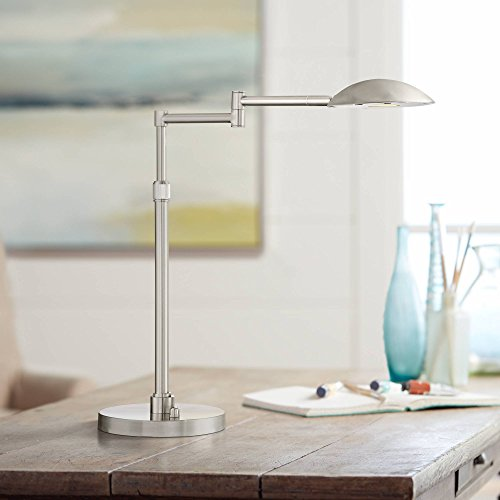(Eliptik Modern Swing Arm Desk Table Lamp LED Rotary Dimmer Switch Satin Nickel Adjustable Height for Bedroom Bedside Office - Possini Euro Design)
